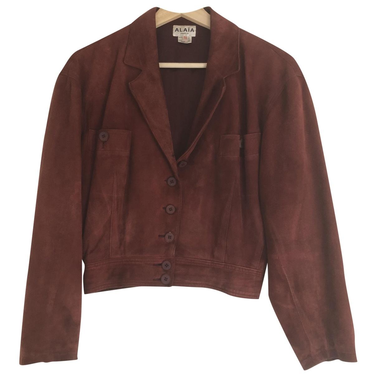 Alaïa \N Burgundy Suede jacket for Women 36 FR