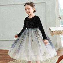 Tutu Kleid mit Kontrast und Netzstoff