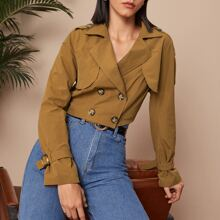 Double Breasted Lapel Collar Crop Jacket