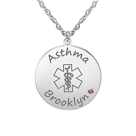 Womens Multi Color Personalized Gold Round Pendant Necklace, One Size , No Color Family