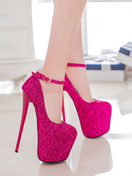 Milanoo Women Sexy High Heels Pink Square Toe Sequined Ankle Strap Stiletto Heels Sexy Shoes