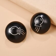 Men Graphic Stud Earrings