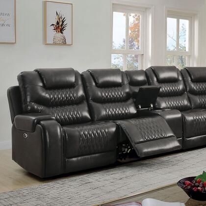 CM6895GY-SECT+AC Mariah Sectional + Armless Chair  in