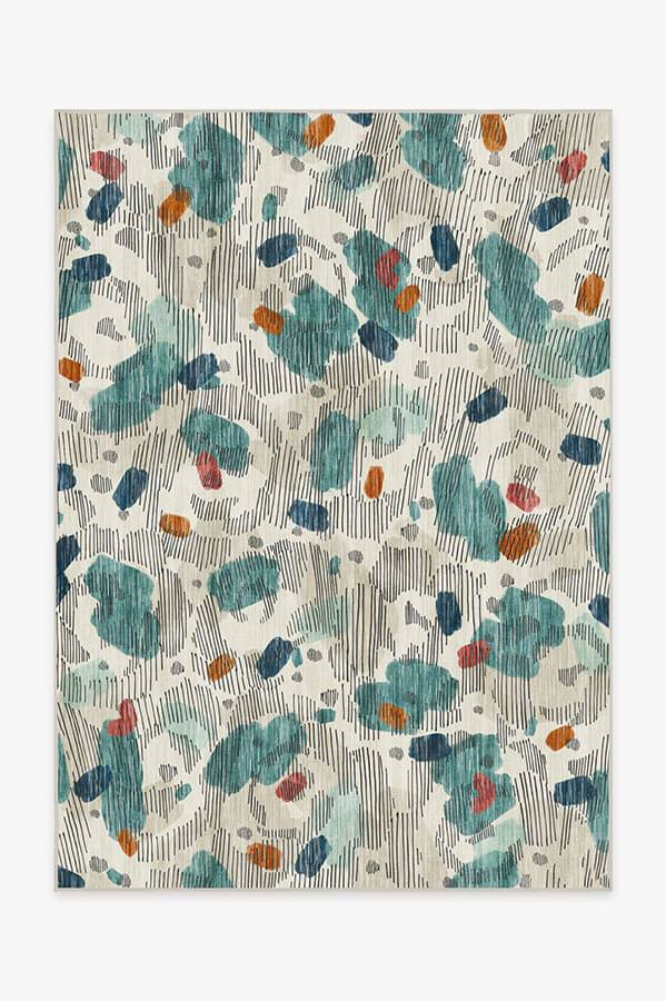 Washable Rug Cover & Pad | Leona Teal Rug | Stain-Resistant | Ruggable | 5'x7'