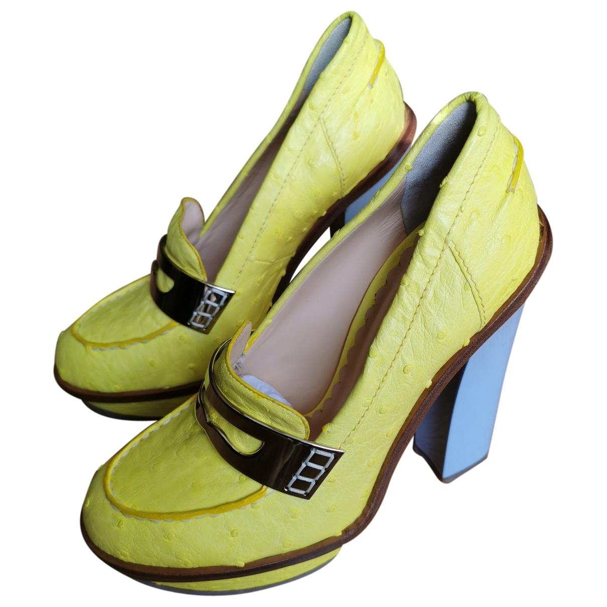 Mulberry \N Yellow Ostrich Heels for Women 39 EU