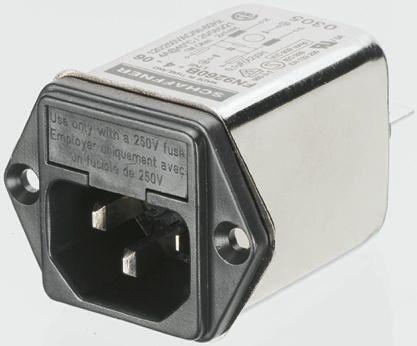 Schaffner ,1A,250 V ac Male Snap-In IEC Filter FN9260SB-1-06-30,Faston