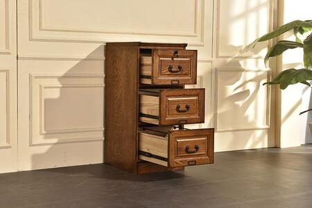 Ward Collection 828831-BW-CB 42 File Cabinet with Three Drawers  Rectangular Shape  Wood Base  Wood Veneer in Burnished Walnut