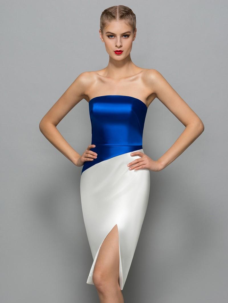 Ericdress Strapless Split-Front Sheath Cocktail Dress