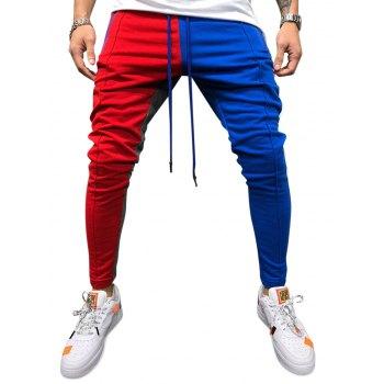 Color Block Pockets Drawstring Slim Fit Track Pants
