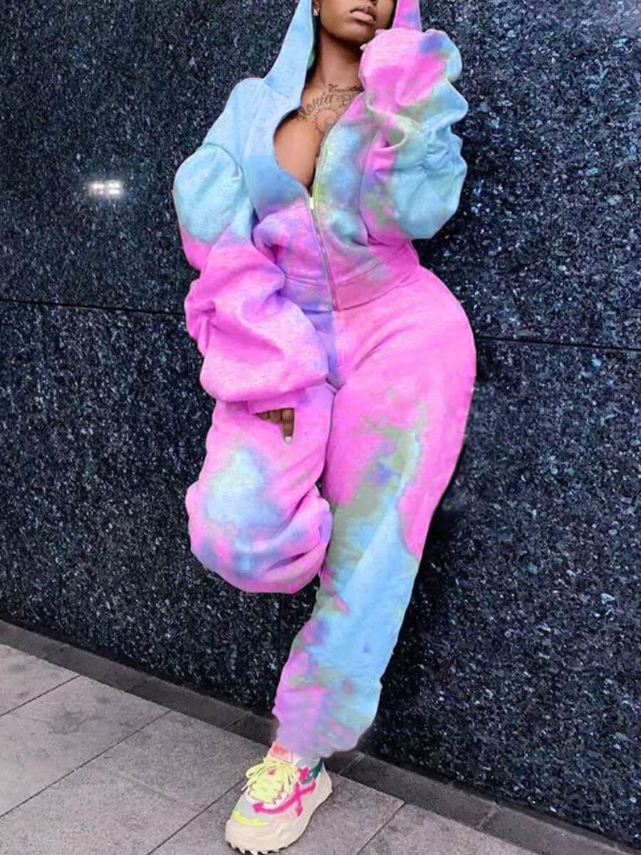 LW Lovely Casual Hooded Collar Dropped Shoulder Tie Dye Pink Two Piece Pants Set