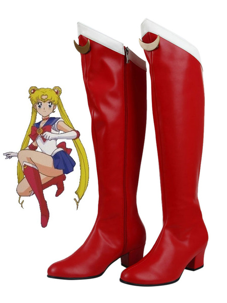 Milanoo Halloween Carnaval Zapatos para cosplay de Sailor Moon poliuretano Sailor Moon rojos