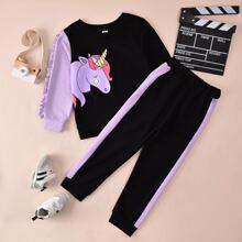 Sudadera con estampado de dibujos animados con pantalones de color combinado