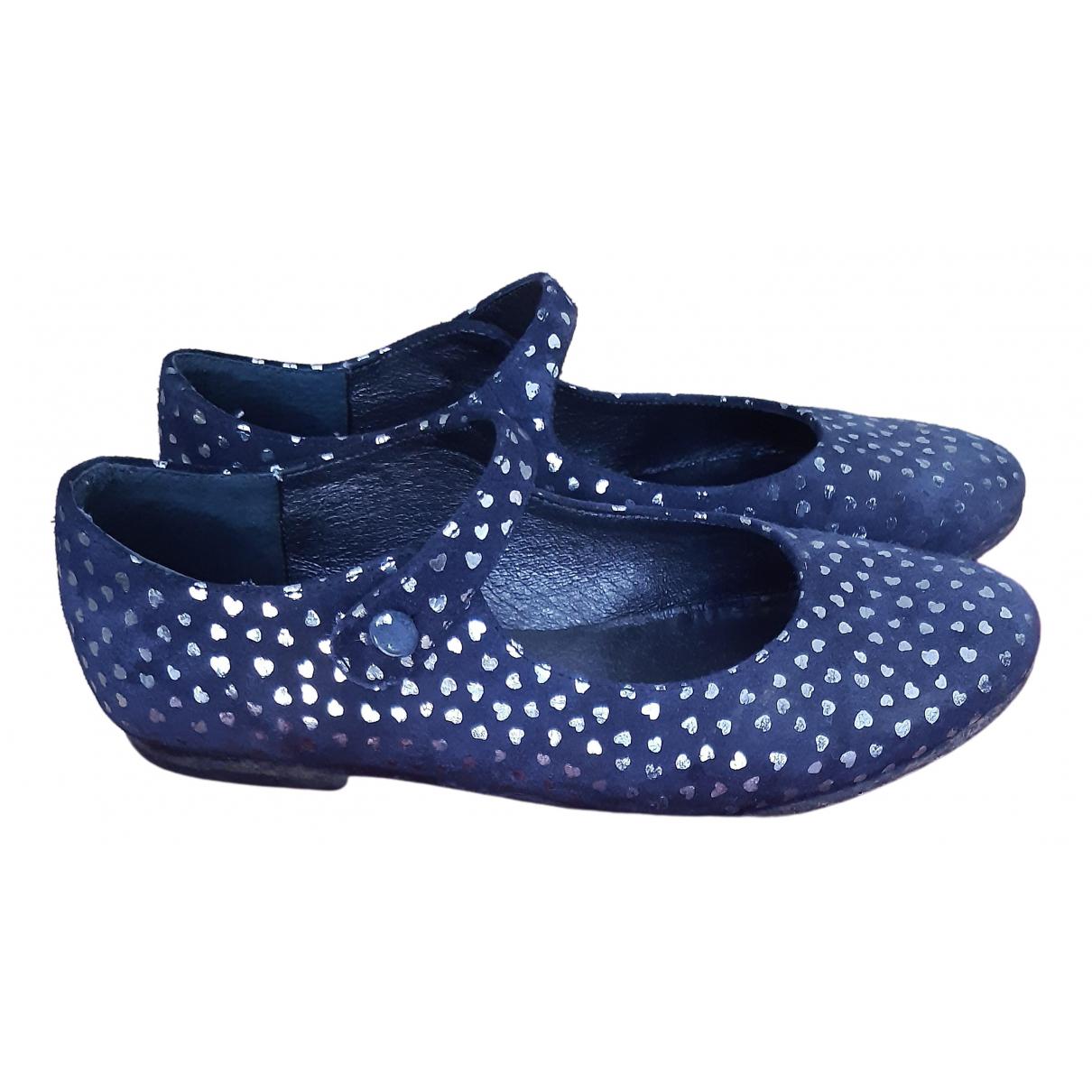 Bonpoint \N Ballerinas in  Blau Veloursleder