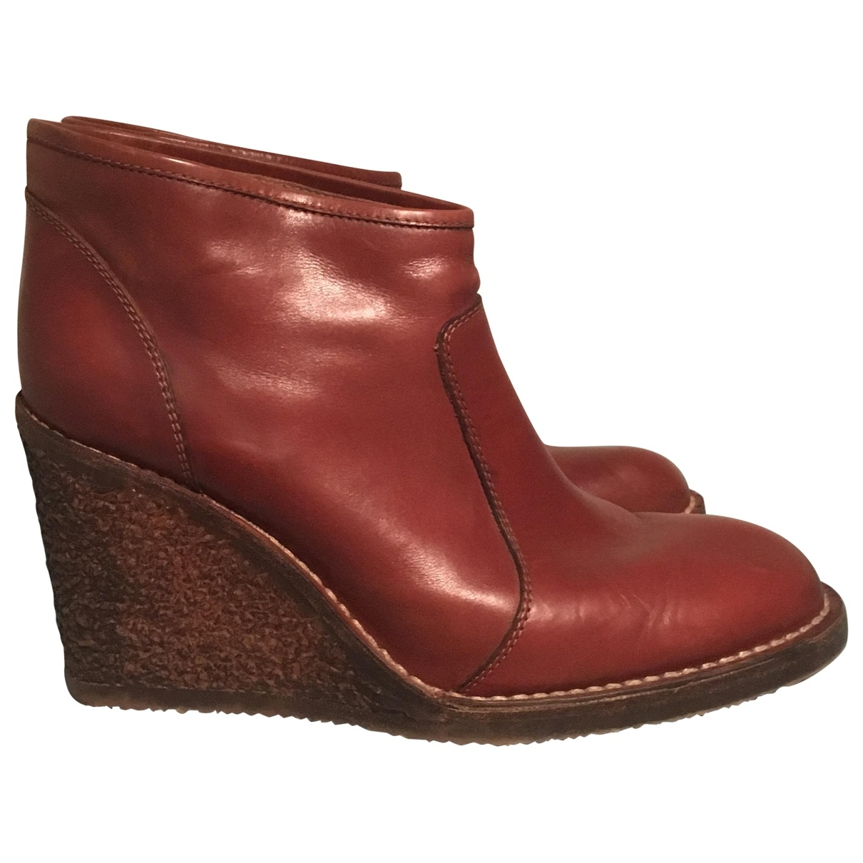 Maison Martin Margiela \N Burgundy Leather Ankle boots for Women 40 EU