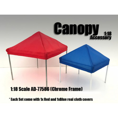 Canopy Accessory Blue and Red with 1 Chrome Frame 118 Scale by American Diorama