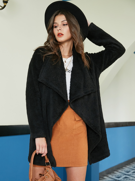 YOINS Black Waterfall Collar Lambswool Coat