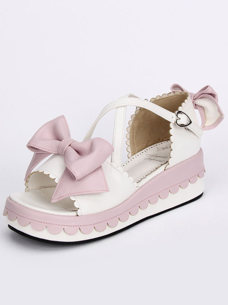 Milanoo Sweet White Lolita Sandals Platform Pink Bows Ankle Straps Bows