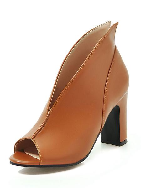 Milanoo High Heel Booties Women Brown Peep Toe Sandal Booties