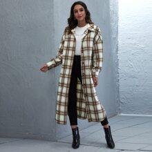 Einreihiges Overcoat mit gebogenem Saum und Karo Muster