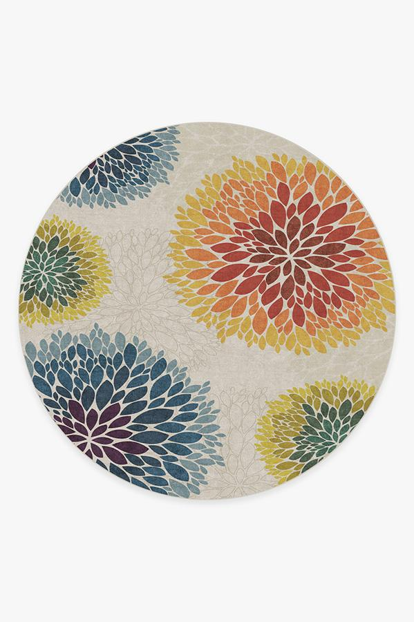 Washable Rug Cover | Floral Medallion Multicolor Rug | Stain-Resistant | Ruggable | 8' Round