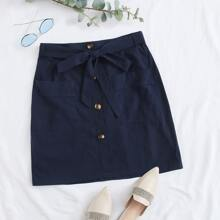 Plus Button Front Belted Skirt