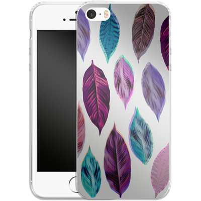 Apple iPhone 5s Silikon Handyhuelle - Pink Leaves 2 von Mareike Bohmer