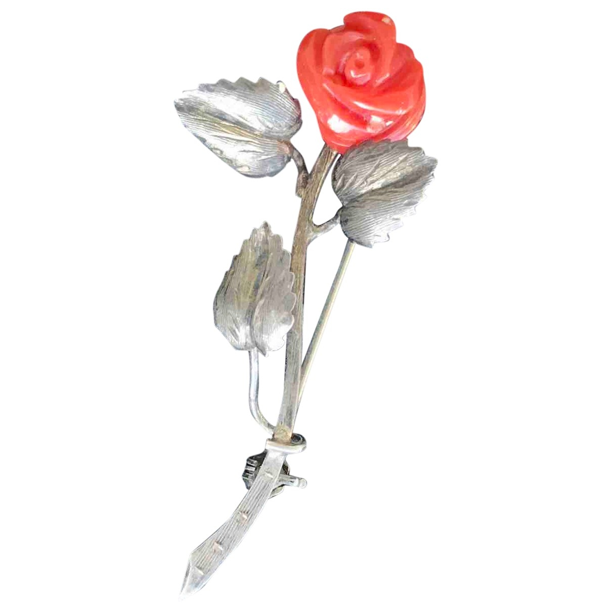 Non Signé / Unsigned Motifs Floraux Silver Silver Pins & brooches for Women \N