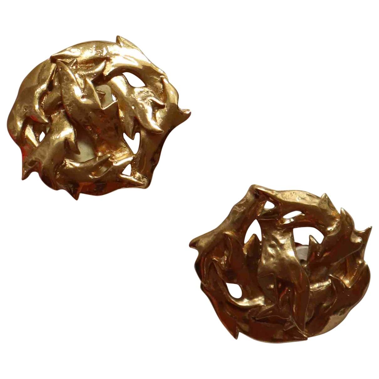 Yves Saint Laurent - Boucles doreilles Arty pour femme en metal - dore