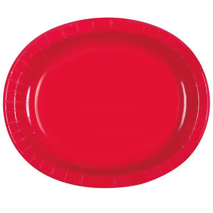 Solid Color Party Oval Paper Plate, 8Pcs - Ruby