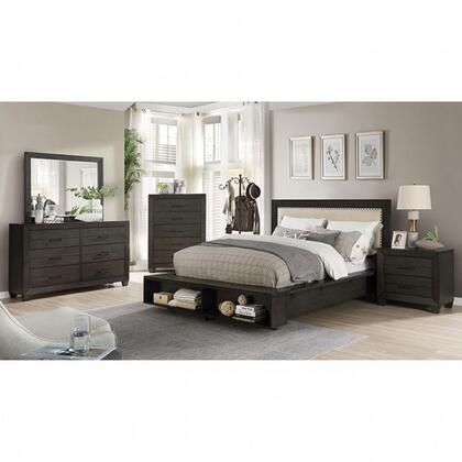 Sligo Collection FOA7893Q-BED Queen Size Bed with Beige Padded Fabric Headboard  Storage Bookcase on Footboard and Individual Nailheads in Dark