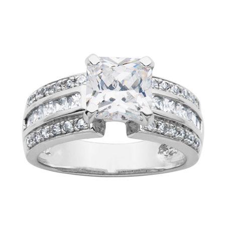 DiamonArt Cubic Zirconia Sterling Silver Bridal Ring, 7 , No Color Family