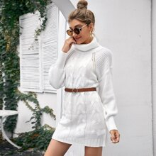 Turtleneck Raglan Sleeve Cable Knit Sweater Dress Without Belt