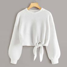 Teddy Sweatshirt mit sehr tief angesetzter Schulterpartie und Knoten an Saum