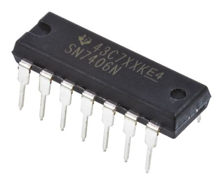 Texas Instruments SN7406N, , Hex, Open Collector Inverter, 14-Pin PDIP