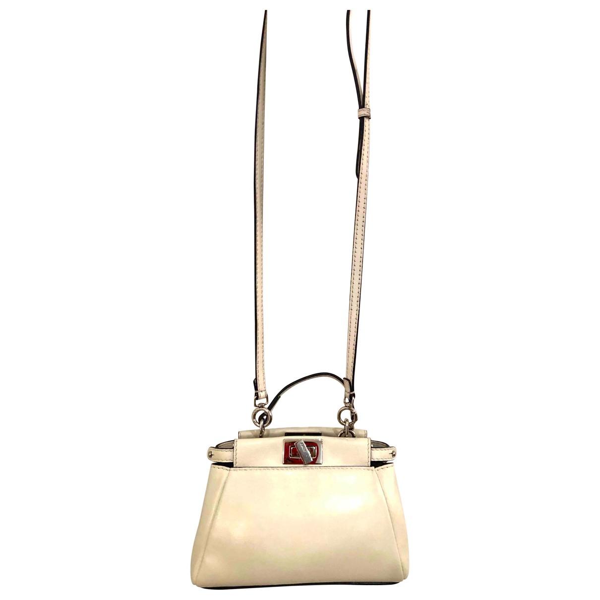 Fendi Peekaboo mini pocket Handtasche in  Ecru Leder