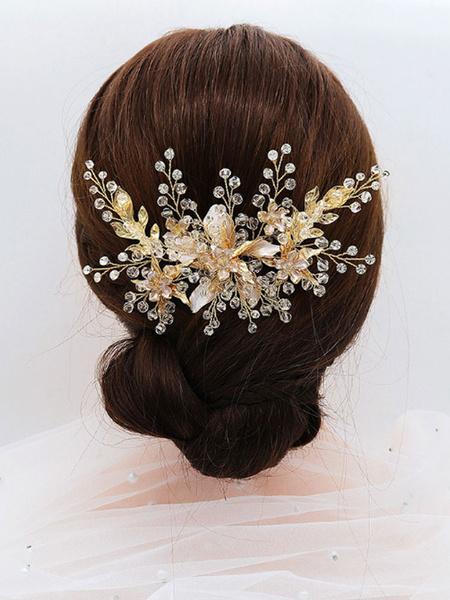 Milanoo Wedding Headpieces Leaf Headwear Metal Hair Accessories For Bride