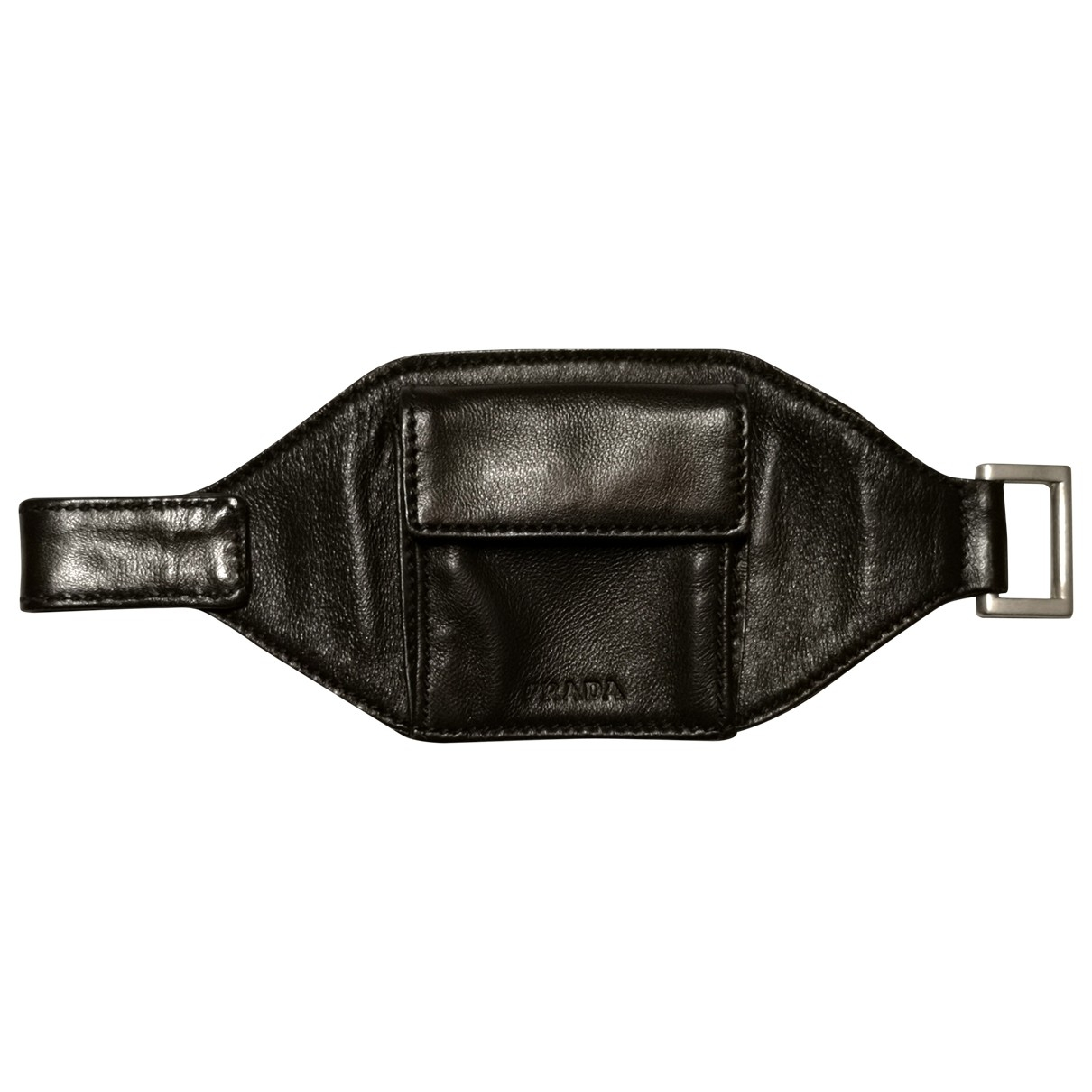 Prada \N Brown Leather Small bag, wallet & cases for Men \N