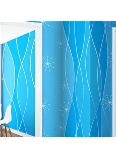 Blue Background Embellished by Curved Lines and Geometries 3D Waterproof Wall Mural