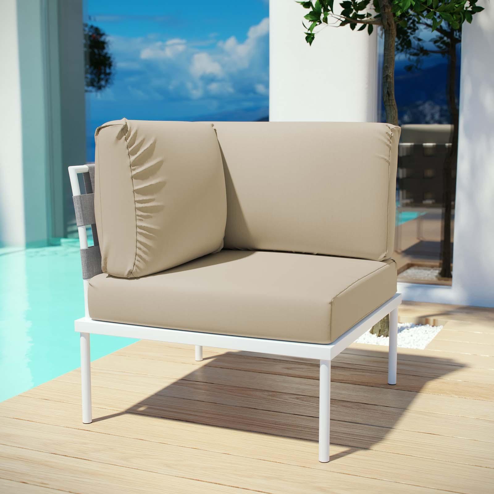 Harmony Outdoor Patio Aluminum Corner Sofa in White Beige