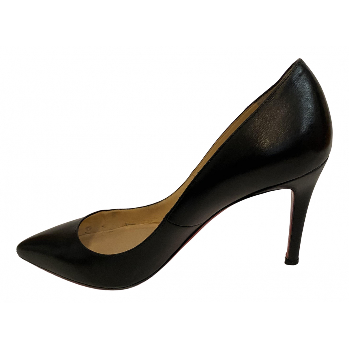 Christian Louboutin Pigalle Black Leather Heels for Women 38 EU