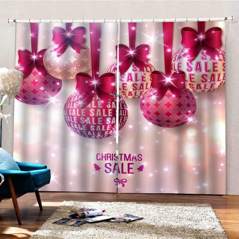 Christmas Decor 3D Celebration Ball Print Blackout Curtains Party Photo Backdrop