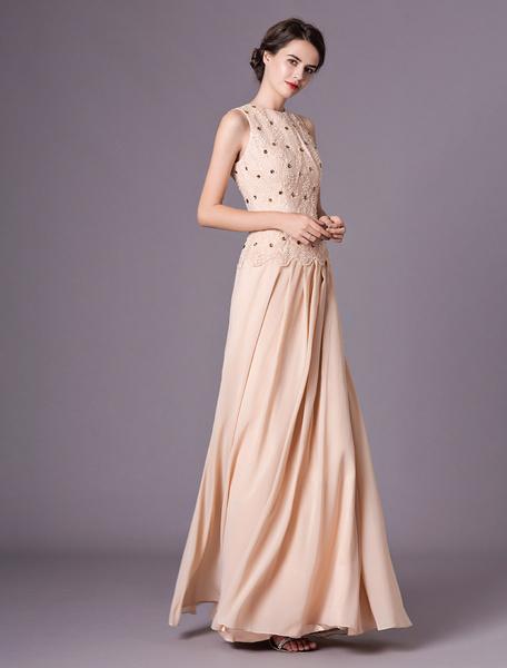 Milanoo Champagne Mother Dresses Beaded Sleeveless Lace Chiffon Maxi Wedding Party Dress