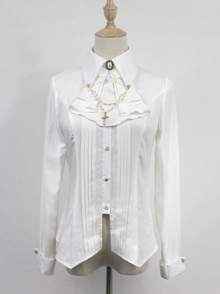 Milanoo Blusa de lolita de poliester de cuello vuelto con manga larga Color liso con pliegues gotica