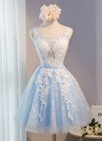 Milanoo Tulle Homecoming Dress Lace Applique Prom Dress Baby Blue Sash Backless A Line Knee Length Party Dress