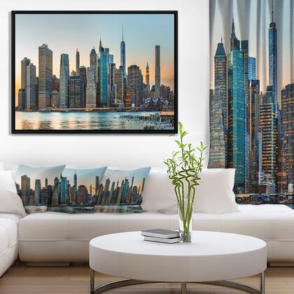 FL7087-42-32-FLB New York City Skyline - Photography Framed Canvas Art Print -