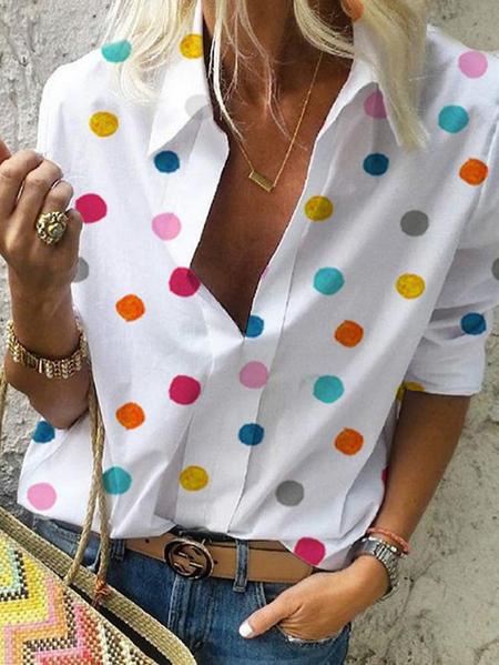 Yoins White Polka Dot Turn Down Collar Blouse