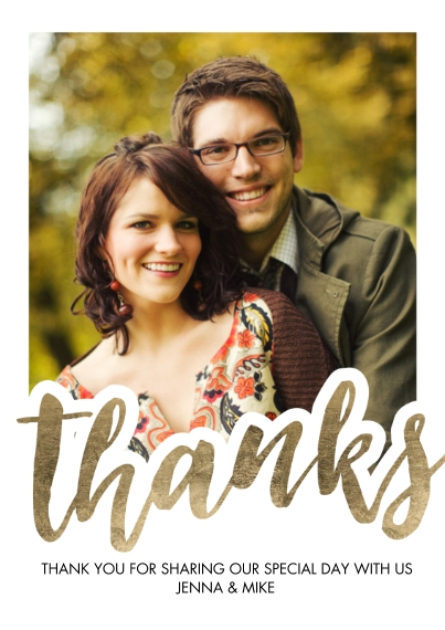 Wedding Thank You 5x7 Cards, Premium Cardstock 120lb, Card & Stationery -Thank You Bold Script