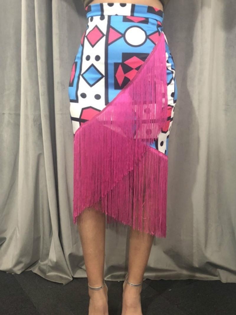 Ericdress Geometric Mermaid Print Fashion Skirt