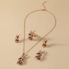 5 piezas set joya de niñas con diamante de imitacion