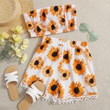 Allover Floral Tube Top & Pom Pom Hem Shorts